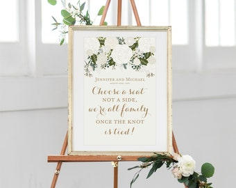 Printable Choose a Seat, Not a Side Wedding Sign, Printable Wedding Sign, Seating Sign, Pick a Seat, Ceremony Sign, Wedding Poster #CL112