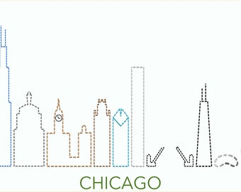 Embroidery Pattern - Chicago skyline. Personalized gift for the Chicago lover in your life.