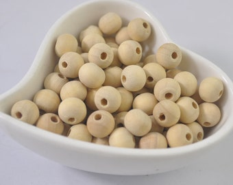 50pcs small Round Wood Bead/Natural unfinished wooden beads/10mm small wooden beads/natural round wooden beads accessories
