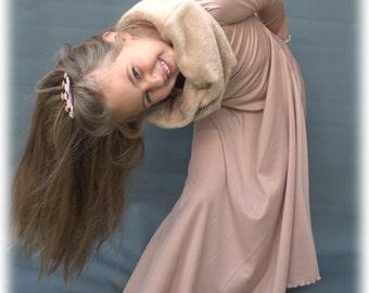 Girls slip over dress, Dress with cowl, T-shirt dress, Cotton stretch dress, Taupe maxi dress, Taupe tank dress, Cowl neck pullover dress