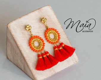 Embroidered Coral earrings with gold plate