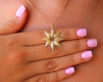 Solid 14k gold necklace, Sunshine necklace, 14k gold pendant, Necklace 14K solid gold