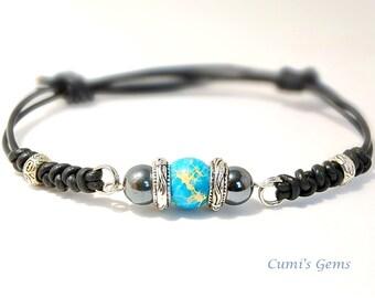 Men's stone jewelry, Blue Jasper bracelet, leather bracelet, Cool men's bracelet, Husband gift, Boyfriend gift, friendship, Yoga bracelet