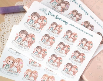Customizable Decorative Stickers ~Special Date~ Date Night Stickers ~ For your Life Planner, Diary, Journal, Scrapbook...