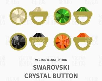 Vector Illustration of Swarovski Crystaletts Crystal Buttons - Digital Clipart Pack