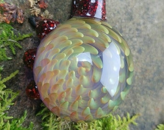 Lampworked silver and gold fumed swirl pendant