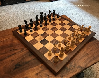 Beautiful Hardwood Chess / Checkers Game Board