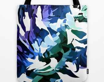 Blue Flower Tote Bag, Canvas Tote Bag, 16 by 16 inch, blue canvas bag, Abstract Art Tote Bag , Blue Green Tote, Christmas Gift