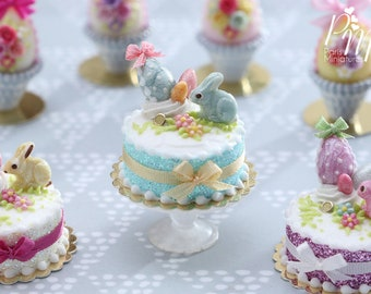 MTO-Miniature Easter / Spring Cake Decorated with Aqua Candy Rabbit, Eggs, Blossoms - (B) - Miniature Food in 12th Scale for Dollhouse