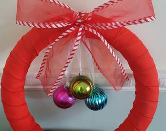 "14"" Red Holiday Wreath with Candy Cane Bow"