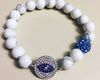 Howlite with pave evileye