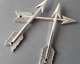 "4pcs-2 sided Arrow charm- silver tone 2.25"" Arrow charm pendant"