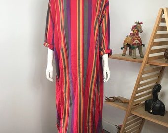 Vtg 70s rainbow striped cotton india caftan dress maxi