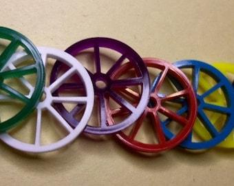 set of 10  wagon wheels, wagon wheel charms tiny wheel embellishments charm laser cut charms wagons wheels