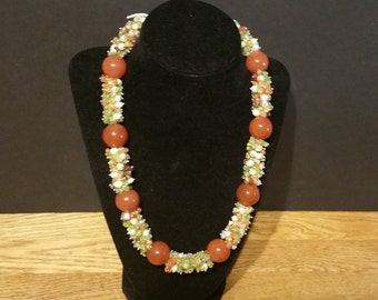 Choker Style Necklace 18 inches, Fall Colors