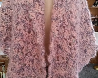 Crocheted shawl silk mohair yarn