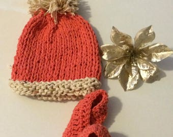 Knitted baby hat with crochet shoes