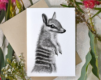 Numbat greeting card with envelope, A6 print of original charcoal drawing, Australian made