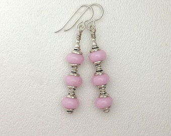 Lamp Work Glass Earrings Light Pink Glass and Sterling Silver