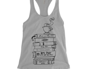 Book Stack, Book Lovers, Literature Racerback Tank
