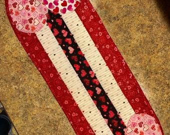 """Valentine's Day table runner / dresser scarf 11"""" x 38"""""""