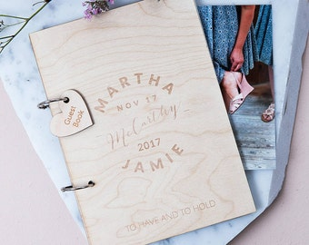 Personalised Calligraphy Wedding Guest Book - Custom Guest book - Rustic Wedding - Unique Guest Book - Vintage - Bridal Shower Gift - Memory