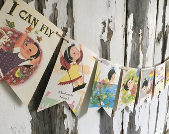 I CAN FLY vintage 70's book page banner bunting garland decoration girl Little Golden Book