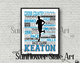Cross Country Typography, Personalized Cross Country Poster, Gift For Runners, Running Gift Ideas, Cross Country Team Gift