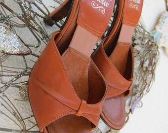 70s Cognac Leather Springolator Pinup Slides Shoes Mules - Vintage Springolators High Heel Heels Slide Pin Up Disco Approx Size 6.5 to 7