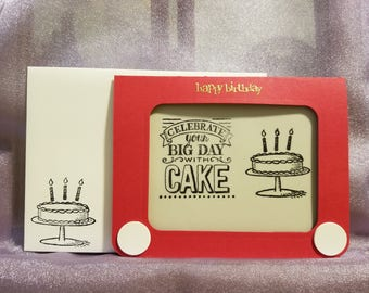 Etch-a-Sketch Birthday Card - Birthday Cake w/ Candles -  Adult - Child - Celebrate Your Big Day With Cake - Embossing - Embillised Envelope