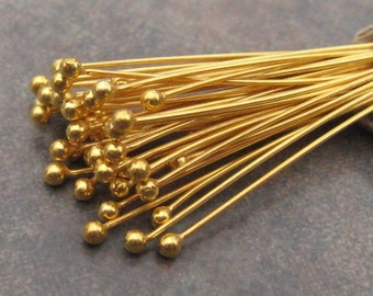 10 Bali Vermeil 27gauge 30mm Ball Headpins
