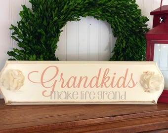 Grandkids Make Life Grand sign - Grandkids picture display - Photo Display - Grandparents Gift -Pregnancy Reveal - Grandchildren Sign