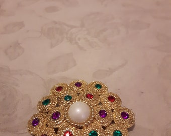 Vintage Gold Tone Domed Faux Pearl Brooch - Red, Green and Purple Rhinestones - 1970s - Wedding/Bridal/Anniversary/Birthday
