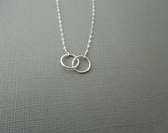 delicate silver necklace, simple necklace, two circles necklace, dainty small tiny, sterling silver, everyday, wedding bridesmaid, N93