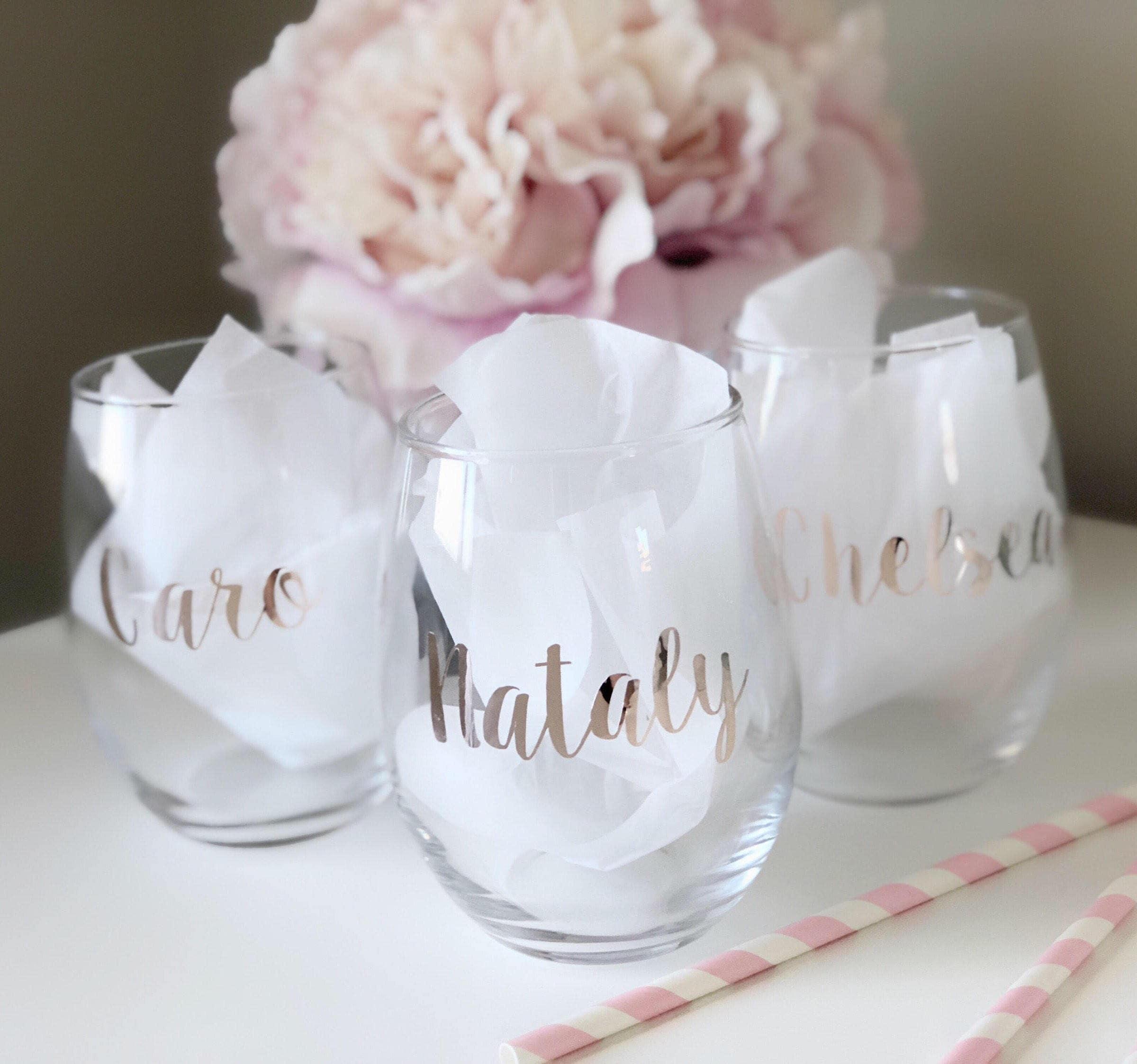 Bridesmaid wine glass personalized wine glass rose gold wine