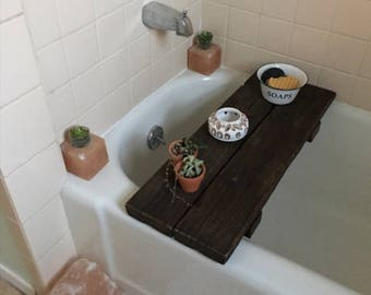 Wooden Bathtub tray. Bathtub table. Bathtub caddy.