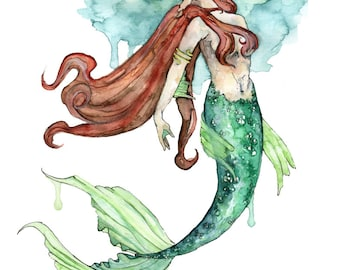 """Mermaid Painting, Watercolor Painting, Mermaid Print, Mermaid Tail, Mermaid Art, Mermaid Decor, Beach Decor, Print titled,""""To the Surface"""""""
