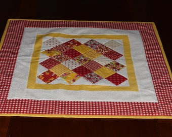 Quilted Yellow and Red Table Topper 22""