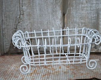 shabby chic WHITE WIRE BASKET country kitchen victorian bohemian