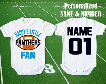 Panthers Baby Daddy's little Panthers fan customized personalized NAME NUMBER Bodysuit Funny body Carolina Baby Child boy Clothing Kid's NFL