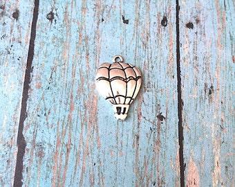 8 Hot air balloon charms antique silver tone (1 sided)- hot air balloon pendants, balloon charms, travel charms, Albuquerque charms, XX3