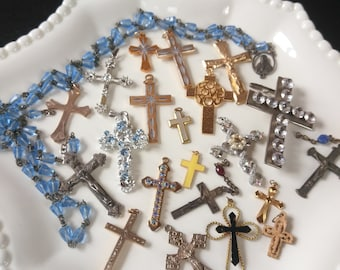 Lot- 21pieces Vintage / Antique Catholic Crosses / Crucifixes + Glass Bead Rosary Goldtone/Rhinestone Jewelry Great Condition FREE Shipping