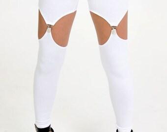 White Garter Leggings