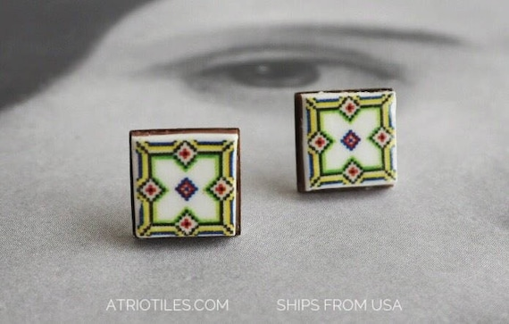 Stud Earrings Portugal Tile Azulejo Portuguese Antique  - BRAGA Geometric! Stainless Steel Posts   Gift Boxed Ships from USA 676