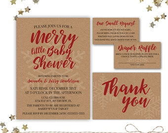 Holiday Christmas Baby Shower Invitation It S A Boy
