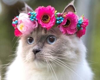 NEW! Cat Flower Crown, Dog Flower Crown, Pet Flower Crown