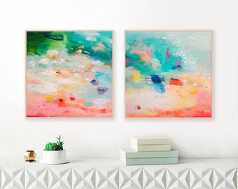 Set of two original abstract painting, teal wall art, large abstract painting, set of 2 canvas, original abstract painting