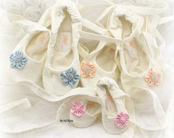 Ivory Wedding Ballet Shoes, Custom Bridesmaids Shoes, Ivory Ballet Flats, Flower Girl Shoes, Bridal Flats, Bridal Shoes, Ballet Slippers