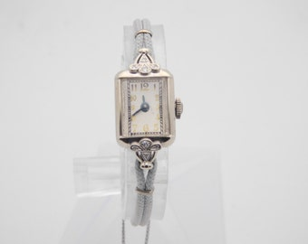 Vintage 14K White Gold & Diamond Mechanical Watch With Gray Cord Band