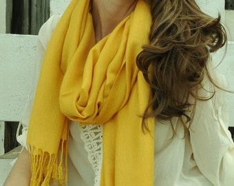YELLOW PASHMINA Shawl/Scarf. Bridal Shawl. Bridesmaid shawl. Wedding Favors. Pashmina Shawl. Yellow Pashmina Scarf.